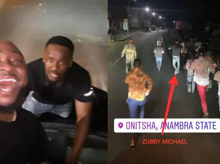 Check Out What Davido & Zubby Micheal Were Spotted Doing On The Streets Of Onitsha Yesterday Night