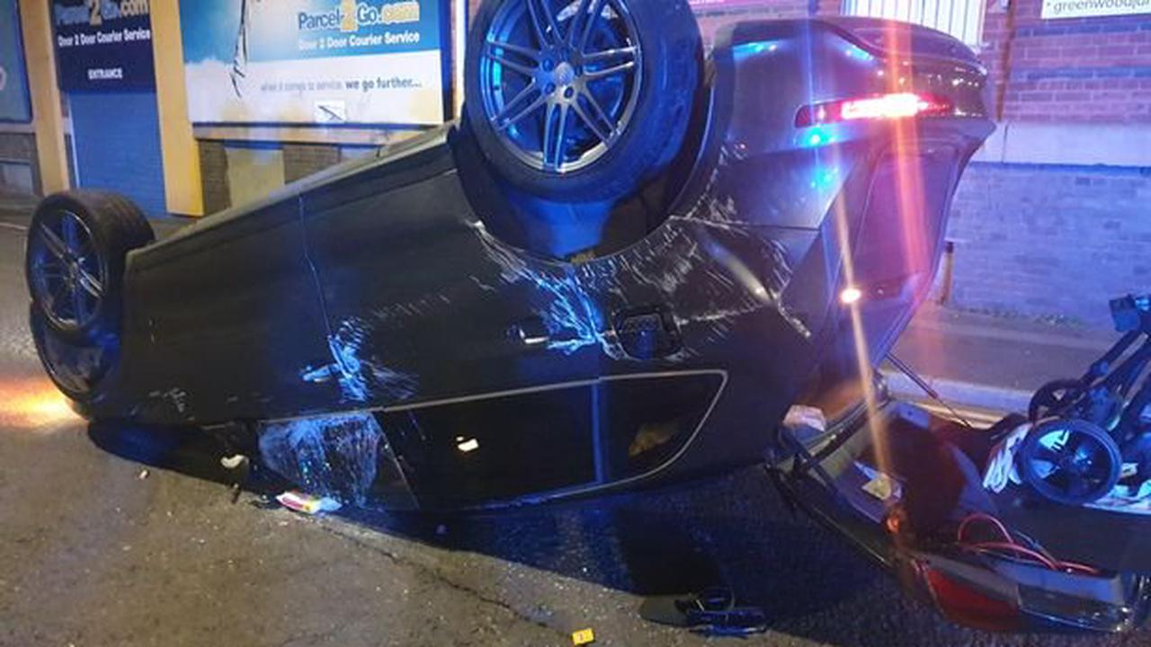 Car crashes, flips over - and driver flees scene to call his lawyer