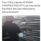 Kasi Man Destroys His Girlfriend's Shack With A Shovel After Finding Out That She Cheated On Him