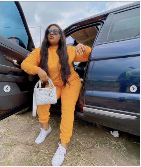 Actress Nkechi Blessing shows off her new whip (Photos)