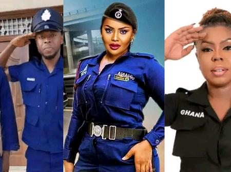 Ghanaian Male and Female Celebrities Dripping In Ghana Police Uniform.