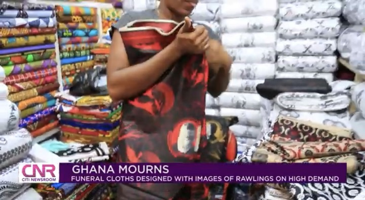 """e007dba9a0e346e79a67a8edc81348c6?quality=uhq&resize=720 - """"Ghana Mourns"""": Funeral Cloths With JJ Rawlings Image In High Demand In Ghana"""