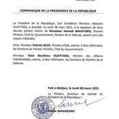 Côte d'Ivoire: Patrick Achi nommé Premier Ministre par intérim, Tiéné Birahima nommé ministre de la Défense