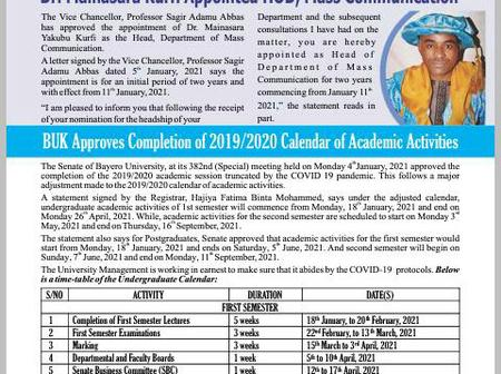 School Resumption: BUK Released Academic Calendar For Completion Of 2019/2020 Season