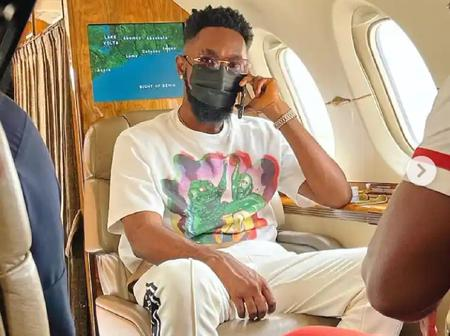Fan reacts as Patoranking shares cool Photos of himself in a private jet