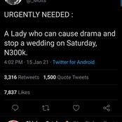 Twitter User Sparks Reaction After He Offered 300K To Anyone That Can Destroy A Wedding Plan