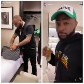 Photos of Davido and his friends while they were shopping yesterday in America