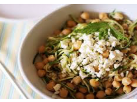 Checkout The Main Ingredients Needed To Prepare Brown Rice, Chickpea, Feta Cheese And Mint salad