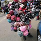 """Ruto Amnunulie Wheelbarrow"" A Hustler Spotted Selling Homemade Football Balls On Streets At 300Shs"