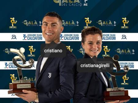 Cristiano Ronaldo reacts after winning the player of the year award for second time (Photos)