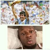 World Record Holder in the 100m and 200m Race, Usain Bolt Reacts to the death of Diego Maradona.