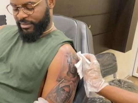 Funke Akindele reacts as Falz shows off his new tattoo