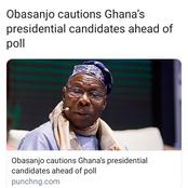Formal Great Nigerian President, Olusegun Obasanjo Warns Ghana Against Violence In Their Election.