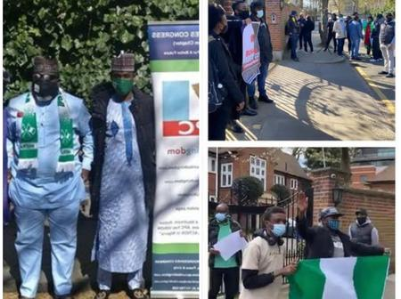 Photos: APC Members In UK Stage Solidarity Protest To Support President Buhari In London