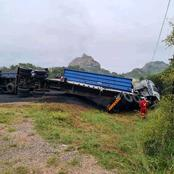 Truck carrying minerals involved in accident.