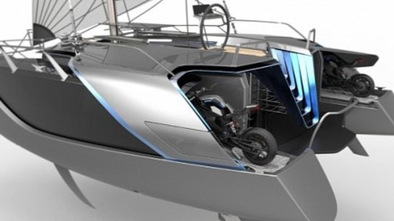This Eco-Friendly Catamaran Includes an Adrenaline Seeker's Motorcycle Garage