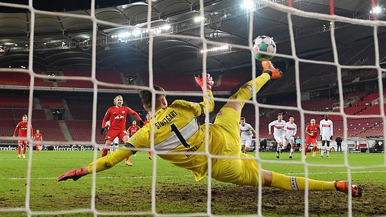 Stuttgart's keeper Gregor Kobel pulls off an astonishing penalty save with his FOOT to deny Leipzig's Emil Forsberg