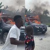 Tension In Warri As Angry Youths Set A Police Vehicle On Fire After A Woman And Child Were Killed