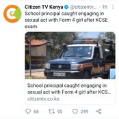 Principal Arrested After Being Caught In The Act With His Form 4 Student After KCSE Exam