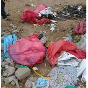 Pictures of hospital waste material dumped near a school