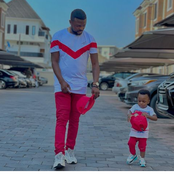 Reactions As Toyin Abraham's Husband And Son Twin In The Same Outfit Today