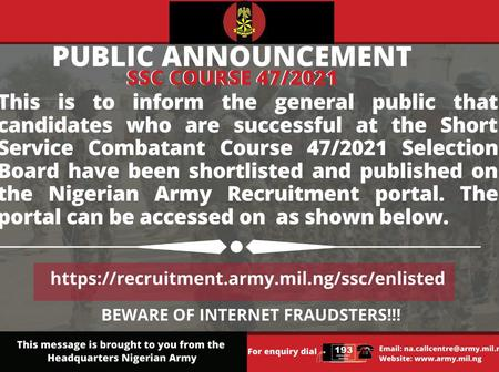 Nigerian Army Releases Shortlisted Candidates For SSC Course And Date To Report For Training