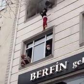 سيدة تركية تلقى بأطفالها الأربعة من الطابق الثالث لمبنى محترق لإنقاذهم من موت محقق
