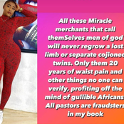 They Called Themselves Men Of God But Never Regrow A Lost Limb, Actress Iheme Nancy Fires At Pastors