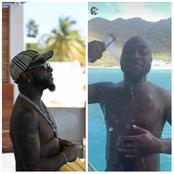 See photos of Davido having fun, as he was spotted bathing outside
