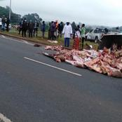 Kenyans React After An Accident Involving A Meat Van in Southern Bypass