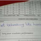 """She is not behaving like a Human Being"" Teacher writes on student report sheet."