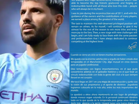 Ending His 10-Years Reign at Manchester City, Sergio Aguero Writes Emotional Goodbye Message to Fans
