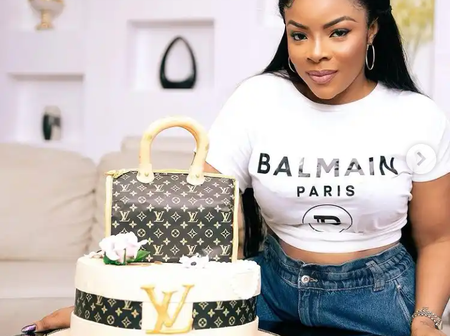 Reactions as Laura Ikeji shows off her Louis Vuitton birthday cake