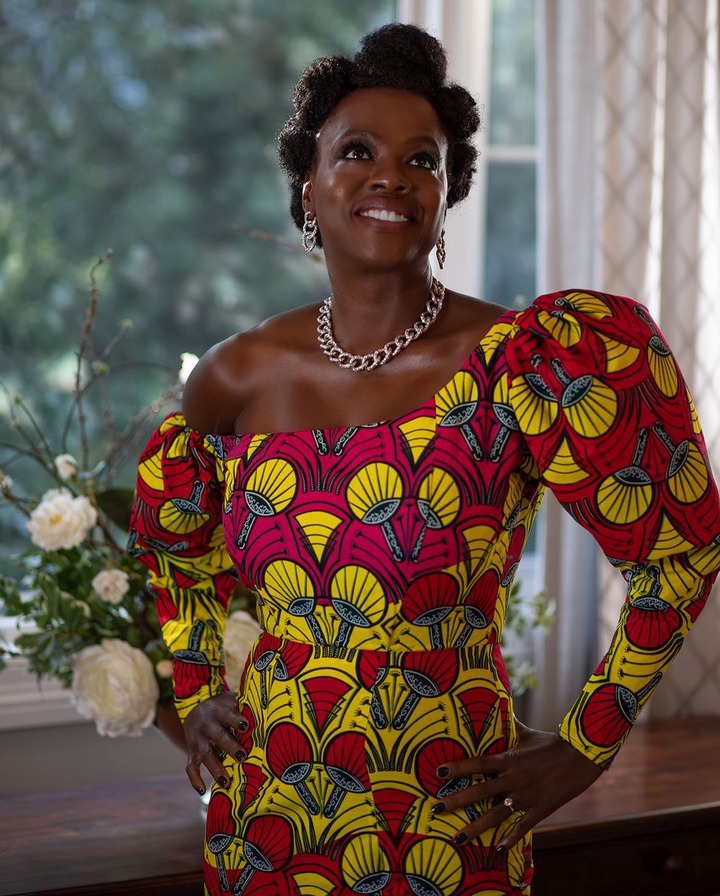 Actress Viola Davis makes a statement in stunning African print dress at 2021 Golden Globes (Photos)