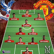 Manchester United Predicted XI for the Premier League Game against Crystal Palace as Cavani Returns