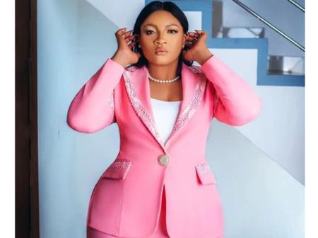 Actress Omotola Ekeinde Rocks Dazzling Pink Suit.