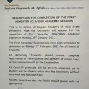 ABSU Resumption for completion of the First semester 2019/2020 Academic session