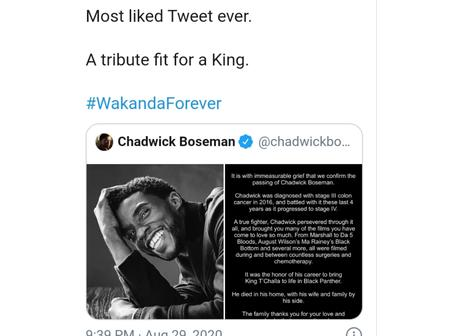 Boseman Chadwick's tweet sets new record hours after his death