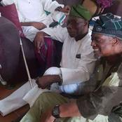 Nigerians Reacts As Former President, Olusegun Obasanjo Sits On The Floor To Honour An Aged Man