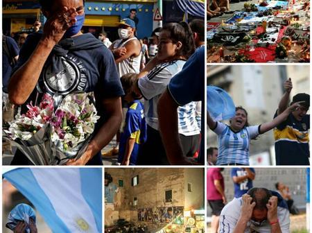 Emotional Photos Of The Argentines And Footballing World Mourning The Football Legend, Maradona.