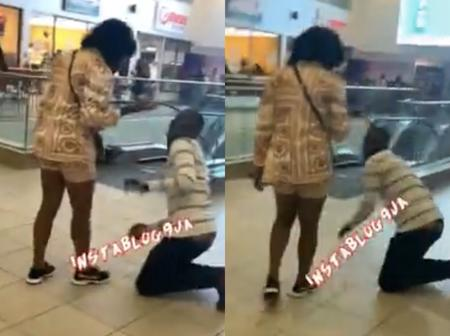PHOTOS: See What A Lady Did To Her Boyfriend After He Proposed To Her In Public Today
