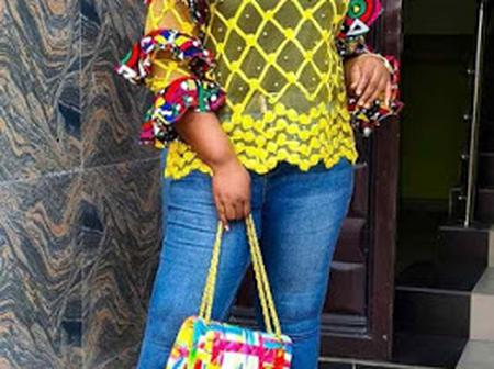 Classy Ankara Tops And Jeans Trousers For Beautiful Ladies.
