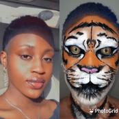 Creativity At Its Peak As Pretty Girl Turns Her Face into Tiger Using Make-up