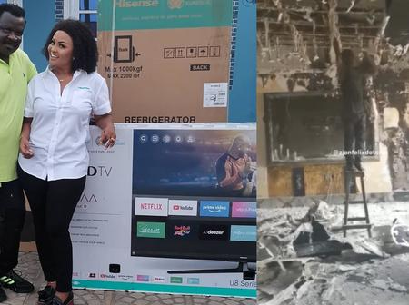 Nana Ama McBrown surprises Koo Ofori with household appliances after his house gutted fire - Photos