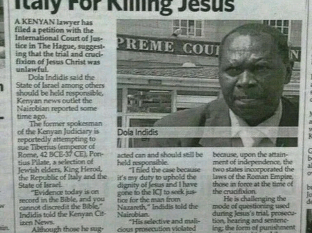 Photos: The only man who dragged two sovereign countries to court over the killing of Jesus Christ.