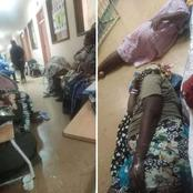 Patients sleeping on the floor.