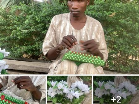 Blind man was sighted making flower vase with beads [Photos]