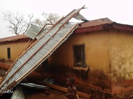 Nkwanta South: Residents stranded after rainstorm destroyed their buildings.