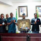 See The Award Presented To Gov Yahaya Bello By Okocha, Ikpeba Other Super Eagle Legends