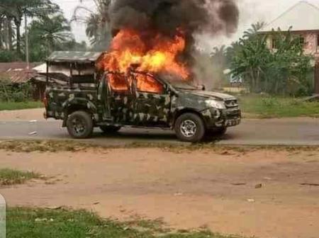 Unknown Gun men set Military van Ablaze in Akwa-Ibom state